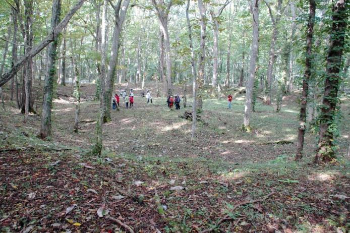 Kiusu Earthwork Burial Circles: Closeup view of Earthwork Burial Circle No. 1