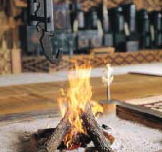 Fire burning in a hearth