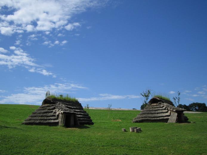 Kitakogane Shell Midden: Restored pit dwellings