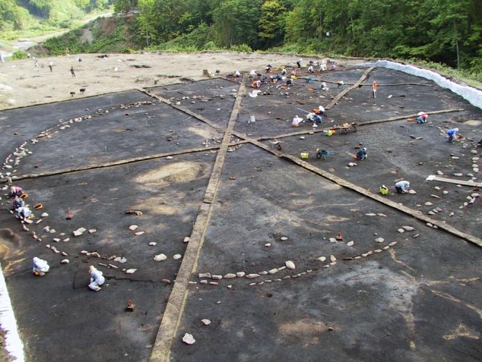 Washinoki Site: Full view of the stone circle (during excavation work)