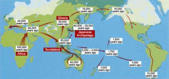 Migratory routes of Homo sapiens and the estimated historical periods