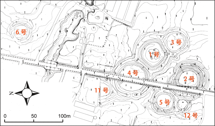 キウス周堤墓:キウス周堤墓群の実測図