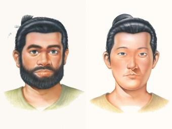 縄文文化の人びと(左)と弥生文化の人びと(右)の顔の復元