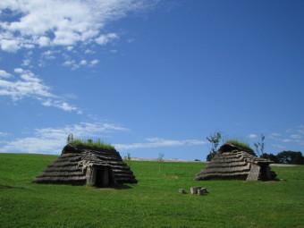 伊達市北黄金貝塚に復元された竪穴住居