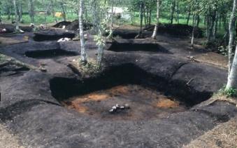 伊茶仁カリカリウス遺跡の竪穴住居跡(1980年の発掘調査時