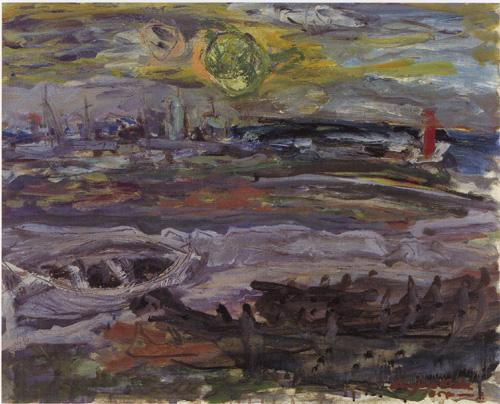 木田金次郎「大火直後の岩内港」(1954年)