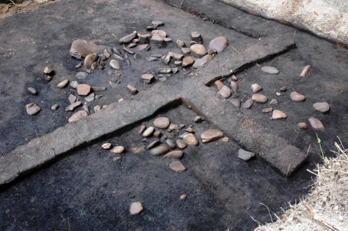 鷲ノ木遺跡:配石遺構1号(発掘調査時)