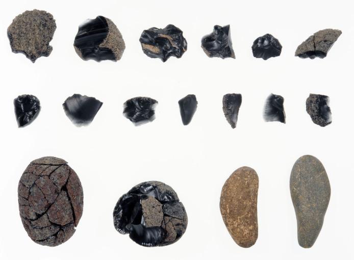出土した石器を接合した状態