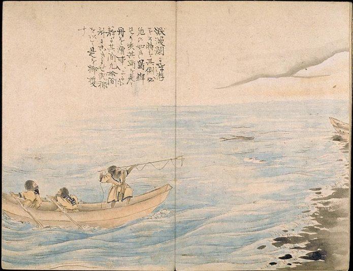 海での漁の様子(蝦夷島奇観)
