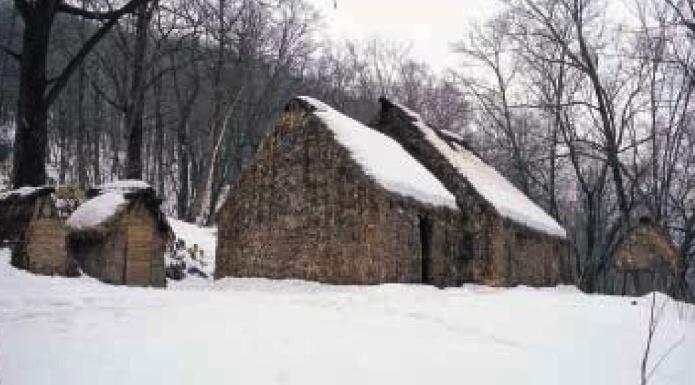 復元されたササ葺きの家屋