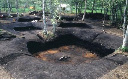 伊茶仁カリカリウス遺跡の竪穴住居跡(1980年の発掘調査時)